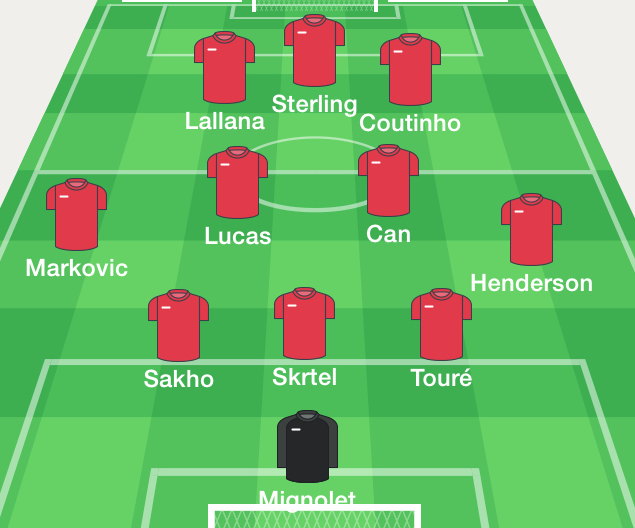 The LFC side for tomorrow. Emre in for Gerrard?